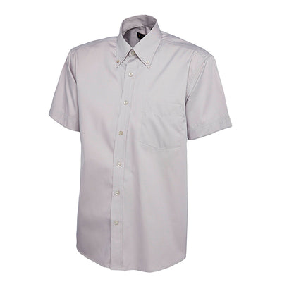 Uneek UC702 Mens Pinpoint Oxford Half Sleeve Shirt Silver Grey