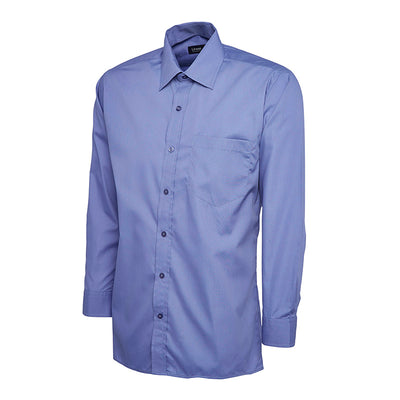 Uneek UC709 Mens Poplin Full Sleeve Shirt Mid Blue