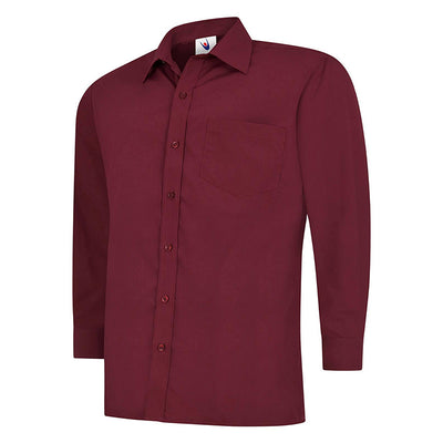 Uneek UC709 Mens Poplin Full Sleeve Shirt Burgundy