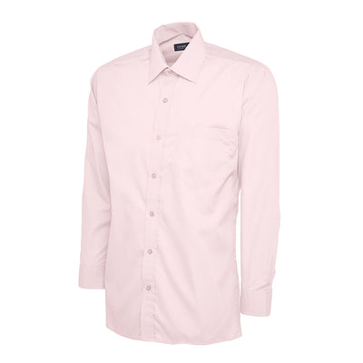 Uneek UC709 Mens Poplin Full Sleeve Shirt Pink