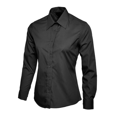Uneek UC711 Ladies Poplin Full Sleeve Shirt Black