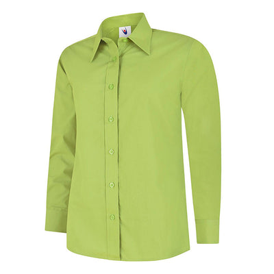Uneek UC711 Ladies Poplin Full Sleeve Shirt Lime