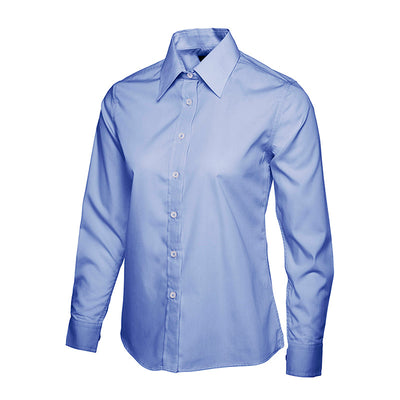 Uneek UC711 Ladies Poplin Full Sleeve Shirt Mid Blue