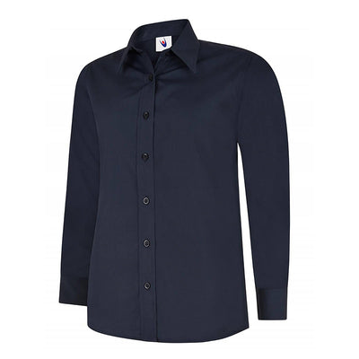 Uneek UC711 Ladies Poplin Full Sleeve Shirt Navy