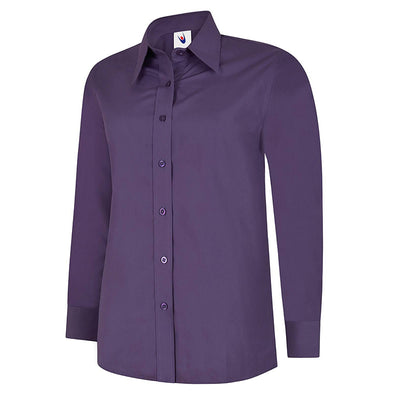 Uneek UC711 Ladies Poplin Full Sleeve Shirt Purple