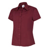 Uneek UC712 Ladies Poplin Half Sleeve Shirt Burgundy