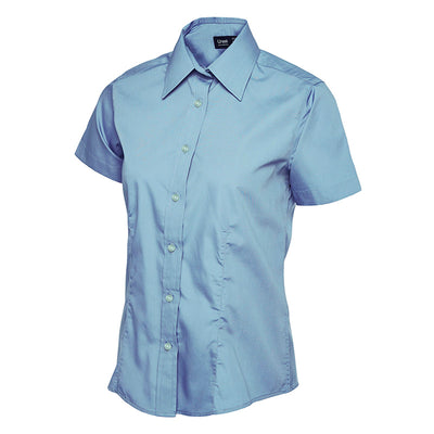 Uneek UC712 Ladies Poplin Half Sleeve Shirt Light Blue