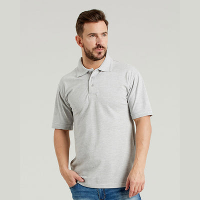 Ultimate 50/50 Heavyweight Pique Mens Work Polo Shirt Heather Grey