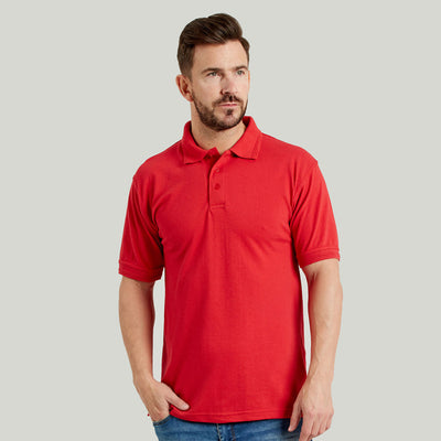 Ultimate 50/50 Heavyweight Pique Mens Work Polo Shirt Red