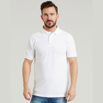 Ultimate 50/50 Heavyweight Pique Mens Work Polo Shirt White