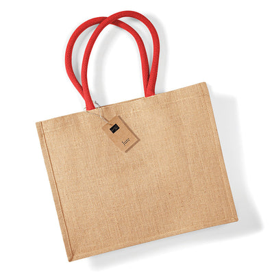 Westford Mill W407 Classic Jute Shopper Natural / Bright Red