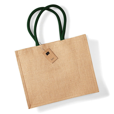 Westford Mill W407 Classic Jute Shopper Natural / Forest Green