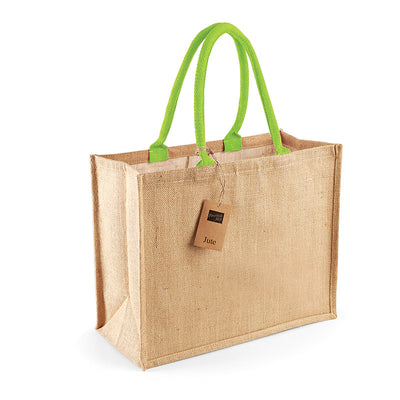 Westford Mill W407 Classic Jute Shopper Natural / Lime