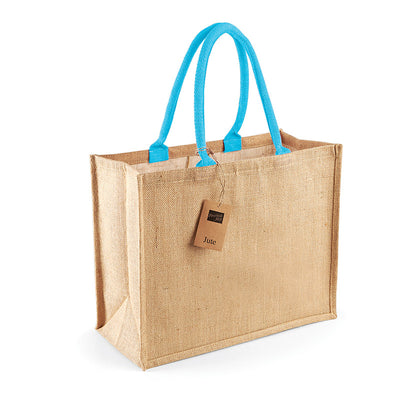 Westford Mill W407 Classic Jute Shopper Natural / Surf Blue