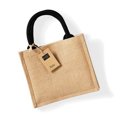 Westford Mill W412 Jute Mini Gift Bag Natural / Black