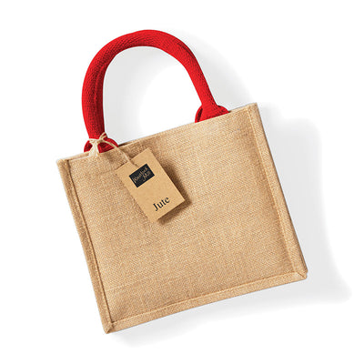 Westford Mill W412 Jute Mini Gift Bag Natural / Bright Red