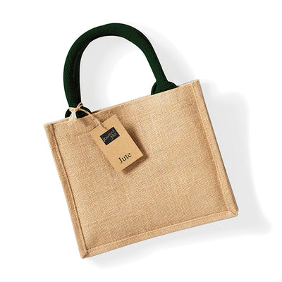 Westford Mill W412 Jute Mini Gift Bag Natural / Forest Green