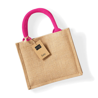 Westford Mill W412 Jute Mini Gift Bag Natural / Fuchsia