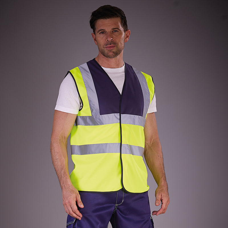 Yoko Hi Vis Vest Work Wear Waistcoat Jacket Navy / Hi-Vis Yellow / S