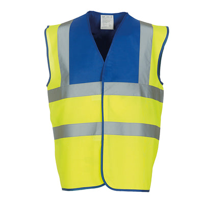 Yoko Hi Vis Vest Work Wear Waistcoat Jacket Royal Blue / Hi-Vis Yellow