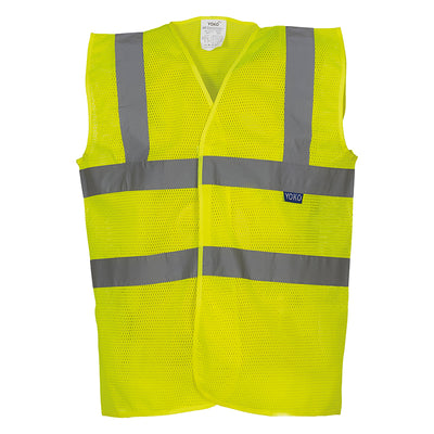 Yoko Hi Vis Open Mesh Waistcoat Breathable Lightweight Vest Hi-Vis Yellow