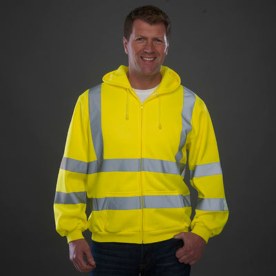 Yoko Hi-Vis Zipped Soft Feel Jersey Hoodie Hi-Vis Yellow