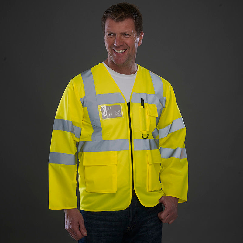 Yoko Hi Vis Executive Long Sleeve Zip Up Waistcoat Vest Hi-Vis Yellow / S