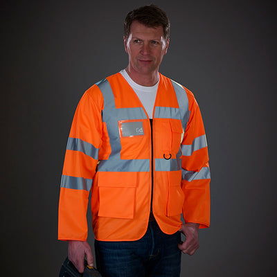Yoko Hi Vis Executive Long Sleeve Zip Up Waistcoat Vest Hi-Vis Orange