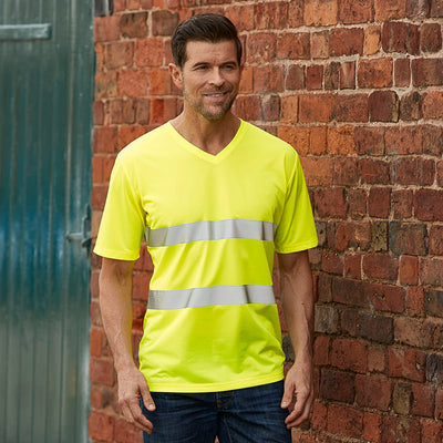 Yoko Hi Vis Top Super Cool Breathable V-Neck T-Shirt Hi-Vis Yellow