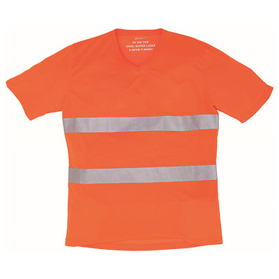 Yoko Hi Vis Top Super Cool Breathable V-Neck T-Shirt Hi-Vis Orange