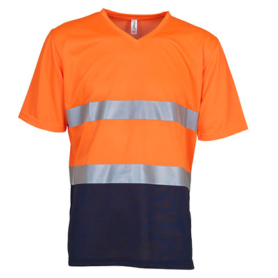 Yoko Hi Vis Top Super Cool Breathable V-Neck T-Shirt Hi-Vis Orange / Navy