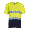 Yoko Hi Vis Top Super Cool Breathable V-Neck T-Shirt Hi-Vis Yellow / Navy