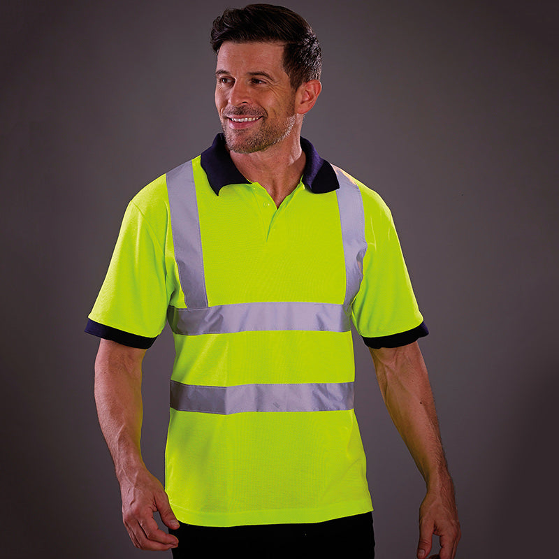 Yoko Hi-Vis Short Sleeve Polo Shirt Contrast Collar Hi-Vis Yellow / S