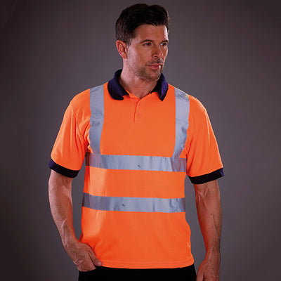 Yoko Hi-Vis Short Sleeve Polo Shirt Contrast Collar Hi-Vis Orange
