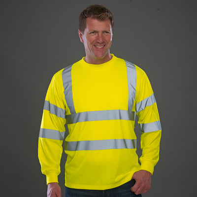 Yoko Hi Vis Long Sleeve Tee Shirt Hi-Vis Yellow