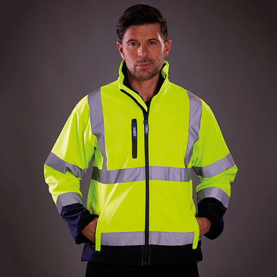 Yoko Hi Vis Softshell Jacket Premium Waterproof Coat Hi-Vis Yellow / Navy