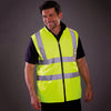 Yoko Hi Vis Reversible Waterproof Fleece Bodywarmer Hi-Vis Yellow