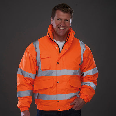Yoko Hi Vis Classic Bomber Jacket Winter Lining Hi-Vis Orange