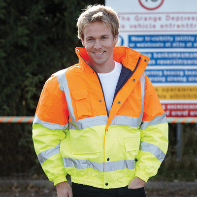 Yoko Hi Vis Classic Bomber Jacket Winter Lining Hi-Vis Orange / Hi-Vis Yellow