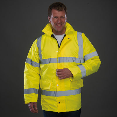 Yoko Hi Vis Waterproof Quilted Lined Road Safety Jacket Hi-Vis Yellow