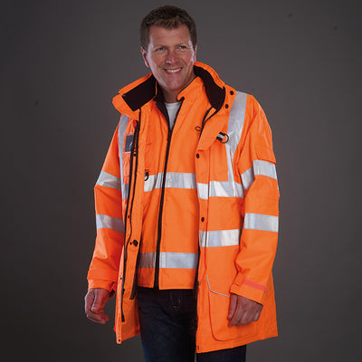 Yoko Hi Vis Multi-Function 7-in-1 Premium Waterproof Coat Hi-Vis Orange