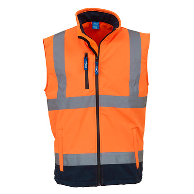 Yoko Hi Vis Softshell Premium Waterproof Gilet Hi-Vis Orange / Navy