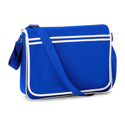 BagBase Retro Messenger Bag Bright Royal / White