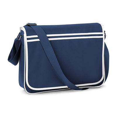 BagBase Retro Messenger Bag French Navy / White