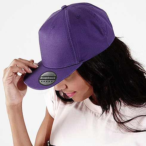 Beechfield 5 panel Snapback Rapper Cap Purple