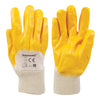 Heavy duty construction for handling sheet metals. 3/4 nitrile dipped cotton interlock liner. Abrasion resistant, grease and oil repellent. Supported glove with smooth finish, anatomical design and knitted wrist. Intermediate design.