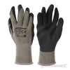 Heavy duty construction for general usage. 10-gauge polycotton shell with acrylic liner and latex-dipped palm. Abrasion and puncture resistant. Supported glove, anatomical design, crinkle finish and knitted wrist. Intermediate design.