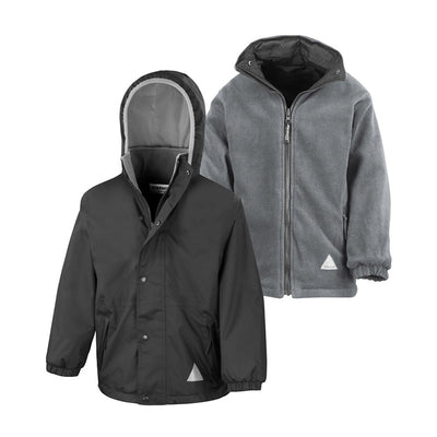 Result R160JY Children's Reversible StormDri 4000 Fleece Jacket Black / Grey