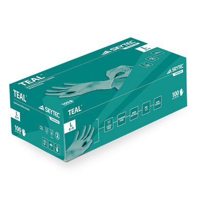 Skytec TEAL High Performance Durable Nitrile Disposable Gloves