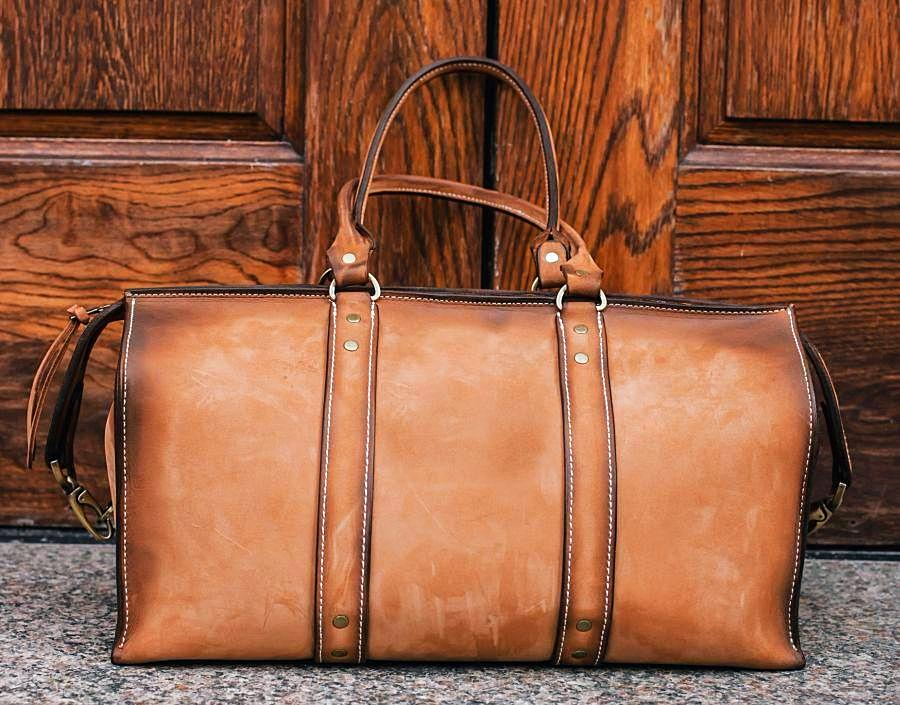 353fdecd52c9 1920 Overnight Duffel Bag (Burnt Timber Leather) - The Speakeasy Leather Co